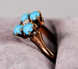 Antique Victorian 14k Yellow Gold Turquoise and Pearl Ladies Ring Size