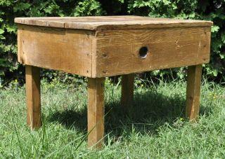 Antique Vintage Solid Wood Coffee Table Primitive Accent Console End