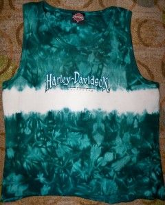 Womens Sz XL Harley Davidson Elkridge MD Ribbed Tank Top Shirt Tie Dye