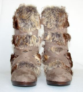 ELLE Sz 9 Taupe Suede & Fur Ankle Boots 4 Stacked High Heel Zippered