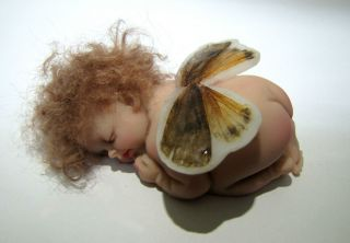 OOAK Polymer Clay Sleeping Baby A Tiny Butterfly