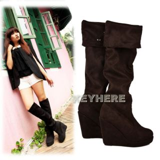 New Womens Ladies Pretty Soft Warm Knee Thigh Heels Boots Shoes K0E1