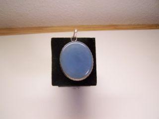 Huge Ellensburg Blue Agate Pendant Sterling Silver Collectors Item New