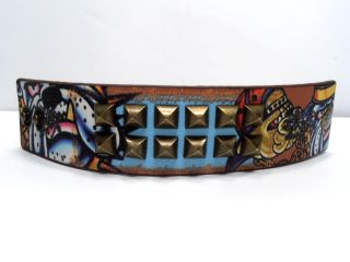 Ed Hardy Cuff Leather Bracelet Gold Studs Bulldog Logo