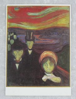 Old Vintage 1970s Postcard Edvard Munch Fear 1894 Oslo Norway