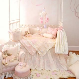 Elegant Pink & Cream Polka Dot Nursery 3pc Baby Girl Crib Bedding Set