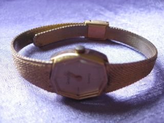Vintage Womens Watch Gold Tone Mesh Band Marked E Gluck 25 3900