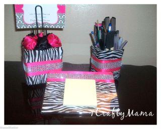 Elegant BLING 3pc Office Desk Set ZEBRA PRINT Hot Pink Birthday SALE
