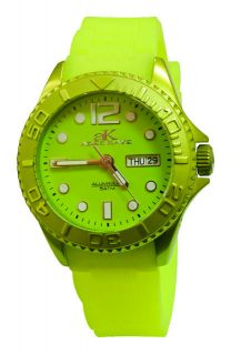New Adee Kaye Ladies Diver Lime Dial Date Watch AK5433 L