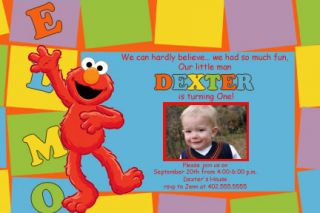 Custom Sesame Street Elmo Birthday Invitations Cards