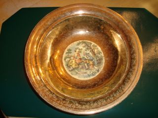 Edwin M Knowles 22 KT Royal China Gold Picture Bowl Nice