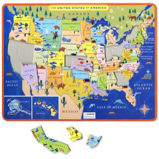 eeBoo Tray Puzzle This Land Is Your Land Map of The United States USA