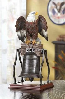 American Bald Eagle on Metal Liberty Bell Statue Figure
