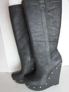 NEW Jessica Simpson Elisha Leather Platform Boots Black: Size 9 M