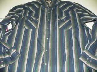 Ely Cattleman Blue Grn Stripe Western Style Dress Shirt 19 5 x 37 XXXL
