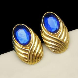 Elizabeth Arden Vintage Earrings Large Blue Glass Stones Rhinestones