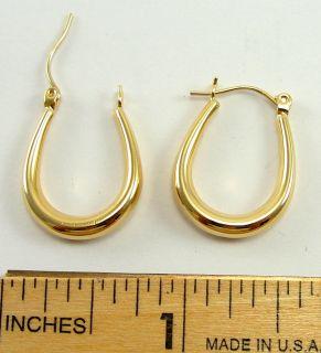 _14K Yellow Gold Earrings Hoop French Lock 1in X .625in_4