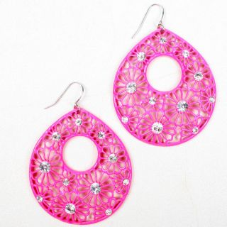 Pink Flower Crystal Rhinestone Tear Drop Dangle Hook Earrings