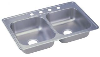 Elkay Kingsford Series Double Equal Bowl Top Mount 4 Hole Kitchen Sink
