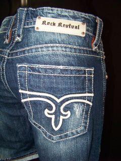 Womens Rock Revival Jeans Boyfriend Shorts Emilie Size 27