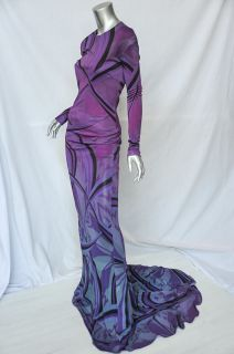 EMILIO PUCCI Swirling Purple *SEXY BACK* Long Sleeve Train Maxi Gown