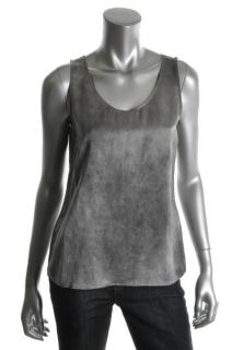 Eileen Fisher New Gray Rounded V Neck Tank Top Petites PS BHFO