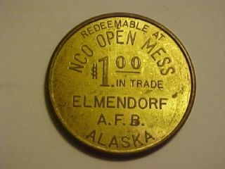 Elmendorf Air Force Base Alaska Military $1 00 Trade Token