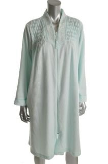 Miss Elaine New Green Terry Cloth Front Zip Long Sleeve Short Robe M