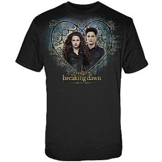 Couple Hearts Breaking Dawn Bella and Edward Black T Shirt