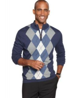 Tasso Elba NEW Blue Argyle Long Sleeve Funnel Neck 1 4 Zip Pullover
