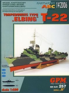 GPM257 14 06 T 22 German WWII Elbing Class Torpedo Boat 1 200 Paper