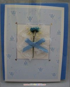 3D Handmade Lace Ribbon Flower Wedding Greeting Card