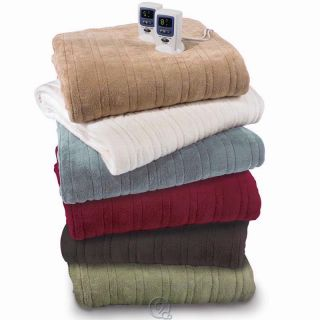 The Best Electric Heated Warming Blanket Beige 100 Micro Plush Fabric