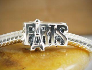 SOLID 925 Sterling silver charm bead paris eiffel tower fits bracelets