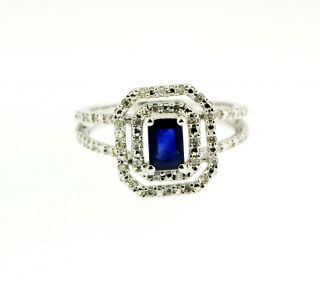 diamonds emerald cut Blue Sapphire 14k White gold Diamond Ring