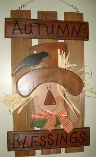 Primitive Country Fall Autumn Blessing Scarecrow Wood Fence Shutter