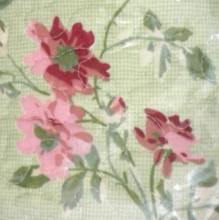 LAURA ASHLEY EMILY PINK GREEN FLORAL QUILT SHAMS NEW QUEEN STRIPE ROSE