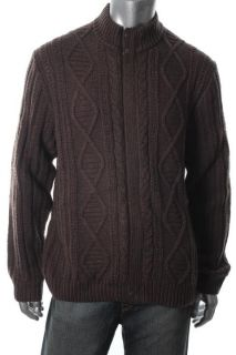 Tasso Elba New Brown Wool Full Zip Cable Knit Funnel Neck Cardigan
