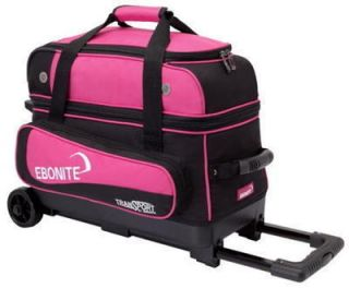 Ebonite 2 Ball Roller Bowling Bag with Wheels Pink