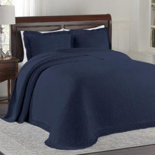 Elegant Navy Blue All Over Diamond Design w Fringe Hem Bedspread King