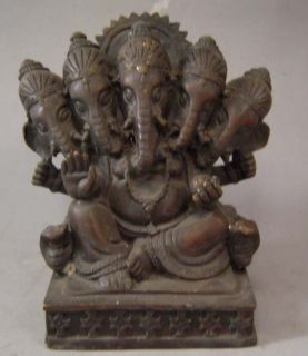 Tibet Tibetan Purple Bronze Elephant 5 Headed God Ganesh Statue