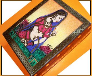 Gemstone Painting Designer Wood Brass Jewelry Box India
