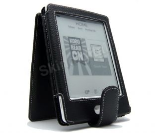 For Kobo Touch eReader Black GENUINE LEATHER Case Cover Flip