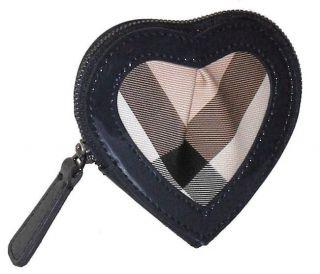 Burberry Womens Nova Check Heart Zip Coin Holder Jet Blue $155