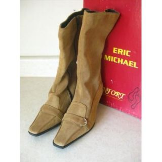 Eric Michael Tan Suede Tall Boots Size 39 8 Heels Buckle Authentic New