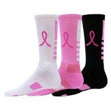 Elite Socks Breast Cancer Awareness Pink Ribbon Crew Football