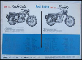 Royal Enfield Vintage Motorcycle Brochure Catalog Interceptor Crusader