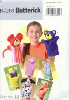 B4209 HAND PUPPETS Pattern Butterick BEAR PIG CAT DOG MONKEY + FREE US