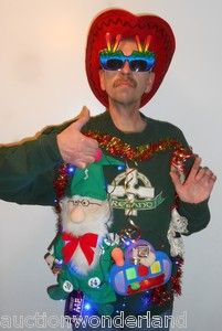 Ugly Christmas Sweater Irish Wizzard Light Up 3 D Mens XL Blue LED
