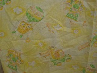 Vintage Crib Sheet Balloon Plane Jungle Animals 1980